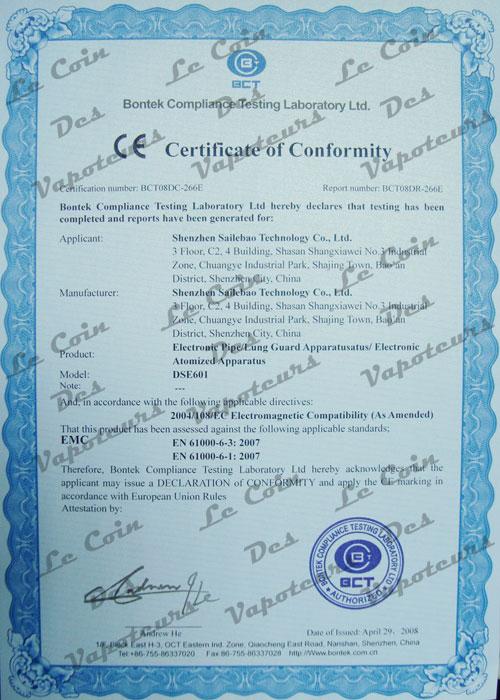 Certificat CE pour DSE601