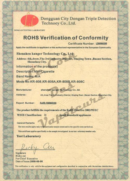 Certificat RoHS