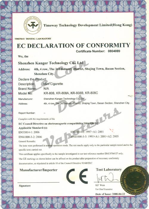 Certificat CE KR808